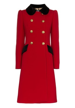 Dolce & Gabbana double breasted contrast collar wool blend coat - Red