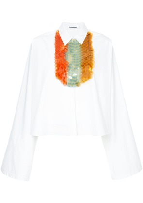 Jil Sander sequin-embellished bib shirt - White