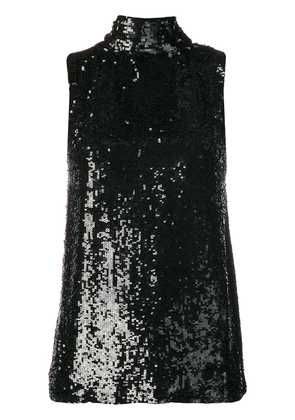 P.A.R.O.S.H. sequinned tie neck top - Black