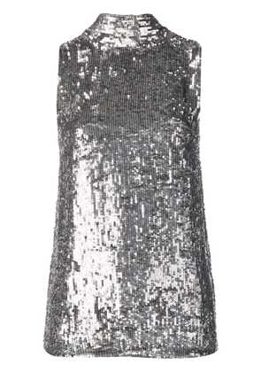 P.A.R.O.S.H. sequinned tie neck top - Metallic