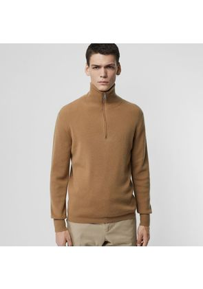 Burberry Rib Knit Cashmere Half-zip Sweater, Brown