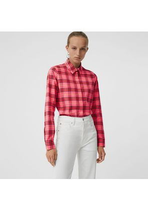 Burberry Check Cotton Shirt, Red
