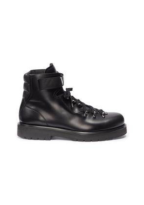 Logo strap leather boots