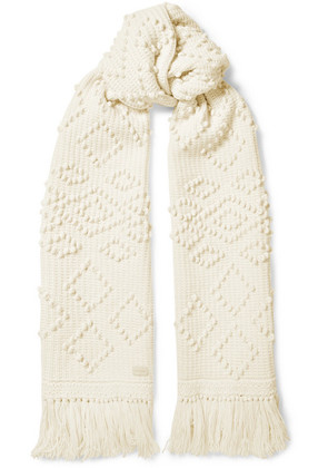 Saint Laurent - Fringed Embroidered Wool Scarf - Ivory