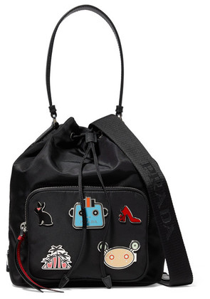 Prada - Embellished Shell And Textured-leather Shoulder Bag - Black