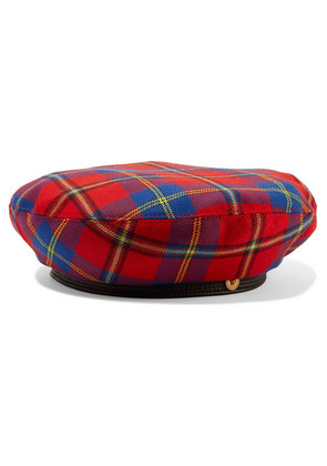 Versace - Leather-trimmed Checked Wool Beret - Red