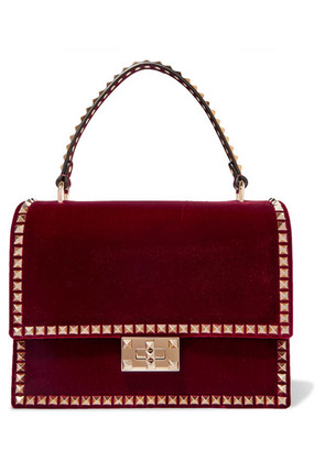 Valentino - Valentino Garavani The Rockstud No Limit Velvet Tote - Burgundy