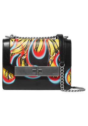 Prada - Printed Leather Shoulder Bag - Black