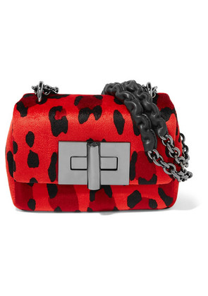 TOM FORD - Natalia Mini Leopard-print Velvet Shoulder Bag - Red