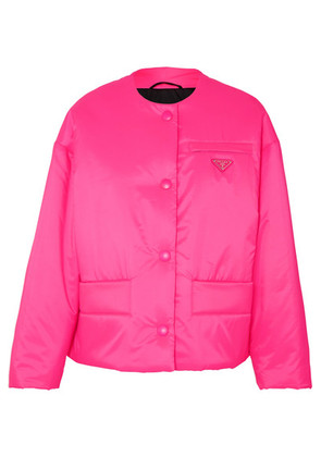 Prada - Leather-trimmed Neon Quilted Shell Jacket - Pink