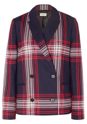 By Malene Birger - Rivali Double-breasted Checked Linen And Cotton-blend Blazer - Blue