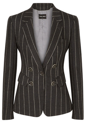 Giorgio Armani - Striped Wool And Cashmere-blend Blazer - Gray