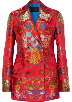 Etro - Double-breasted Floral Satin-jacquard Blazer - Red