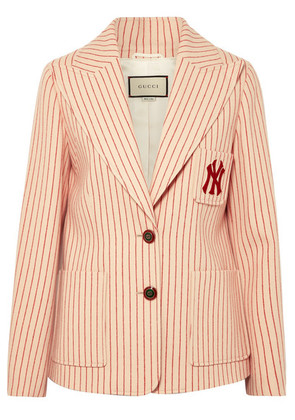 Gucci - + New York Yankees Embroidered Striped Wool Blazer - Ivory