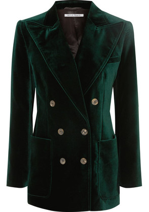 Bella Freud - Bianca Double-breasted Cotton-velvet Blazer - Green
