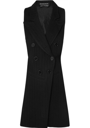 Ann Demeulemeester - Open-back Herringbone Wool-blend And Satin-twill Vest - Black