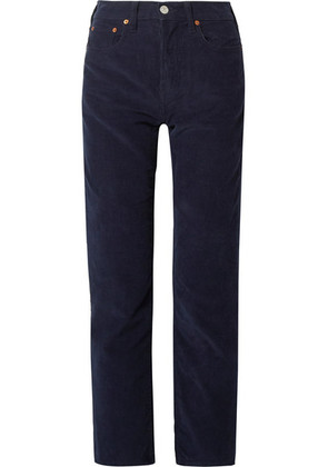 RE/DONE - Stove Pipe Cotton-corduroy Straight-leg Pants - Navy