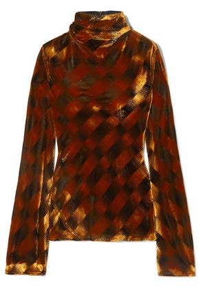 Ellery - Tonalism Checked Velvet Top - Copper