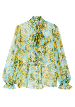Dolce & Gabbana - Pussy-bow Floral-print Silk-chiffon Blouse - Blue