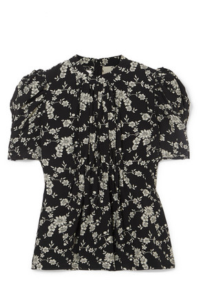 Co - Floral-print Gabardine Top - Black