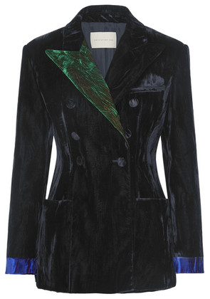 Christopher Kane - Color-block Crushed-velvet Blazer - Black