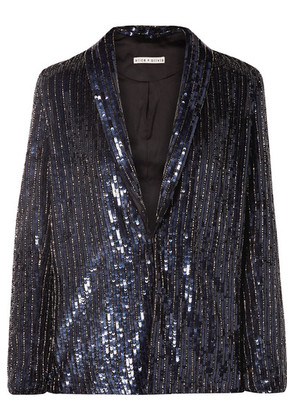 Alice + Olivia - Jace Oversized Sequined Satin Blazer - Navy