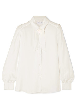 FRAME - Pussy-bow Washed-silk Blouse - Off-white