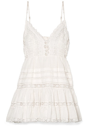 Zimmermann - Iris Lace-paneled Swiss-dot Cotton Mini Dress - Ivory