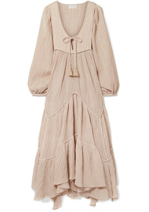 Zimmermann - Bayou Crinkled Ramie And Cotton-blend Midi Dress - Beige