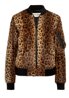 Saint Laurent - Leather-trimmed Leopard-print Goat Hair Bomber Jacket - Brown