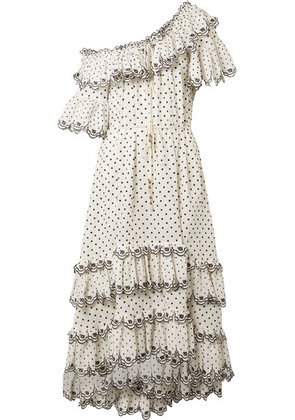 Zimmermann - Jaya Off-the-shoulder Tiered Embroidered Linen Midi Dress - Off-white