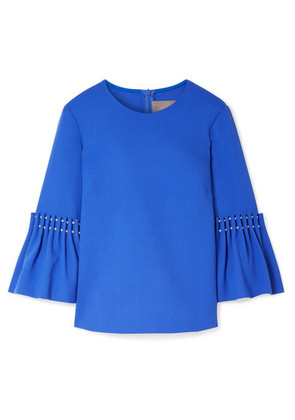 Lela Rose - Faux Pearl-embellished Wool-blend Crepe Top - Blue