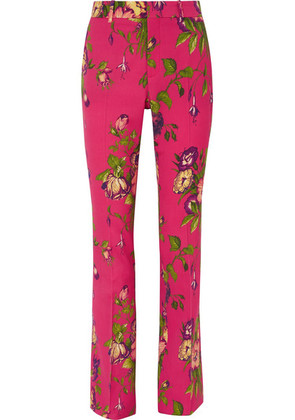 Gucci - Floral-print Wool-blend Flared Pants - Pink