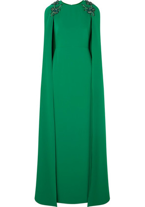 Marchesa Notte - Cape-effect Embellished Crepe Gown - Emerald