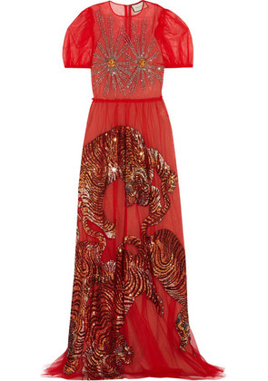 Gucci - Embellished Tulle Gown - Red