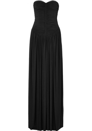 Alexander Wang - Eyelet-embellished Ruched Stretch-jersey Gown - Black
