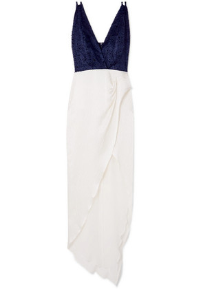 Haney - Constance Asymmetric Glittered Flocked Tulle And Silk-cloqué Gown - White