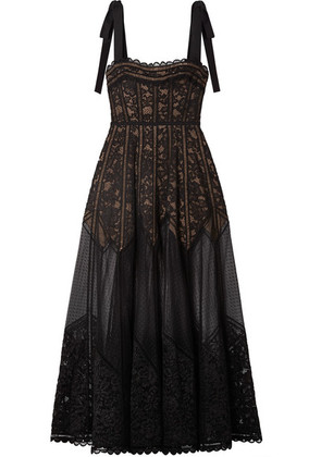 Elie Saab - Bow-embellished Lace, Tulle And Crepe Gown - Black