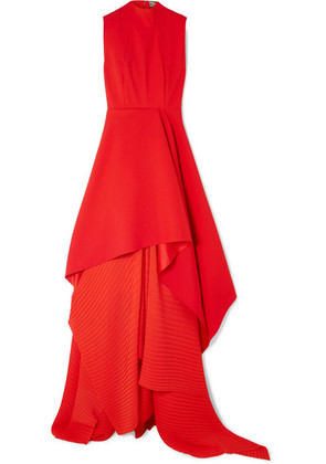 Solace London - The Serafine Asymmetric Pleated Crepe And Chiffon Gown - Red