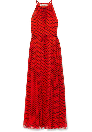 Diane von Furstenberg - Polka-dot Crinkled Silk-chiffon Maxi Dress - Red