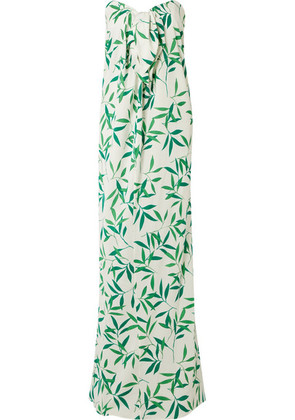 Caroline Constas - Kaia Knotted Printed Voile Maxi Dress - Green
