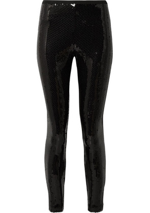Marc Jacobs - Sequined Stretch-crepe Leggings - Black