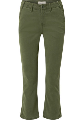 The Great - The Trouser Nerd Cropped Flared Twill Pants - Green
