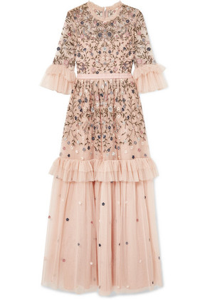 Needle & Thread - Dusk Ruffled Point D'esprit And Embroidered Tulle Gown - Pink