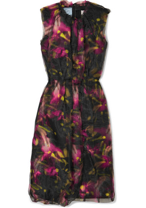 Prada - Floral-print Jersey And Organza Midi Dress - Black