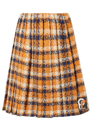Prada - Pleated Checked Wool-tweed Skirt - Orange
