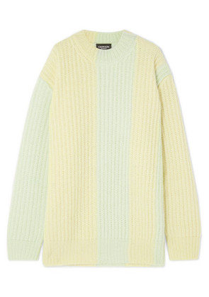 CALVIN KLEIN 205W39NYC - Striped Ribbed Mohair-blend Sweater - Yellow