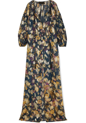 Dundas - Fil Coupé Silk-blend Chiffon Maxi Dress - Petrol