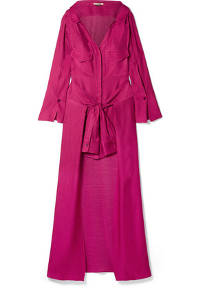 Hellessy - Knotted Linen And Silk-blend Jacquard Maxi Dress - Plum