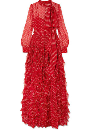 Valentino - Ruffled Polka-dot Silk-chiffon Gown - Red